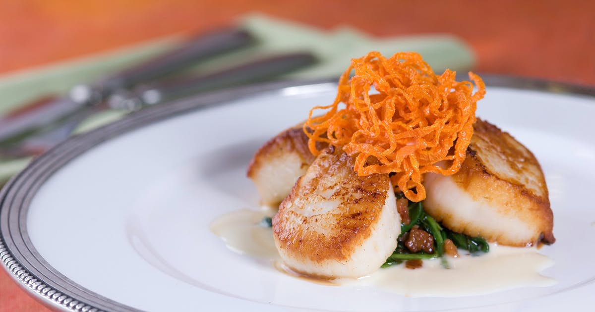 Sea Scallops with Frizzled Spinach, Carrots, and Citrus Beurre Blanc
