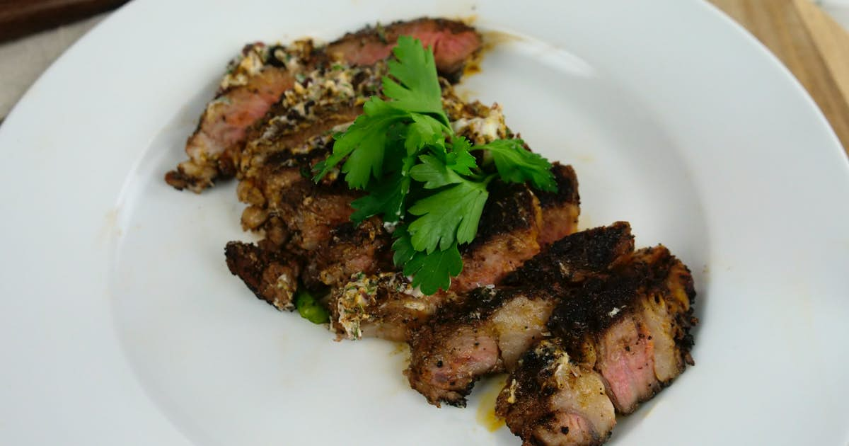 Coffee Crusted Ribeye with Red Wine Butter
