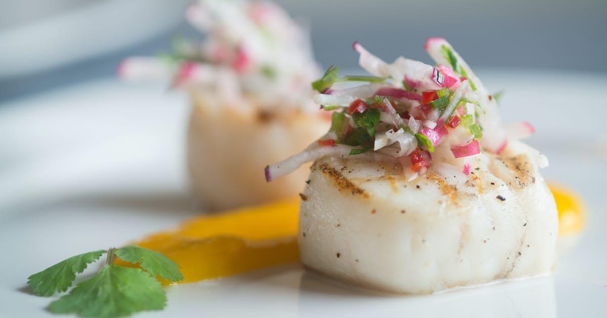 Sea Scallops with Radish Salsa over Mango Coulis