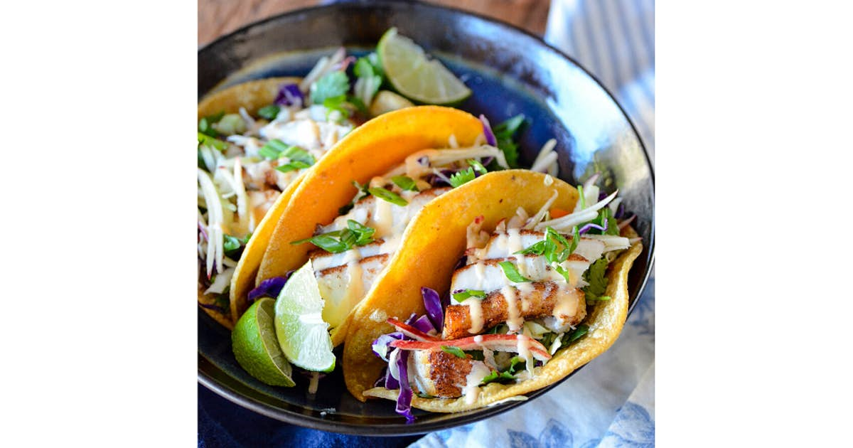 Five Spice Lingcod Tacos with Apple Asian Slaw