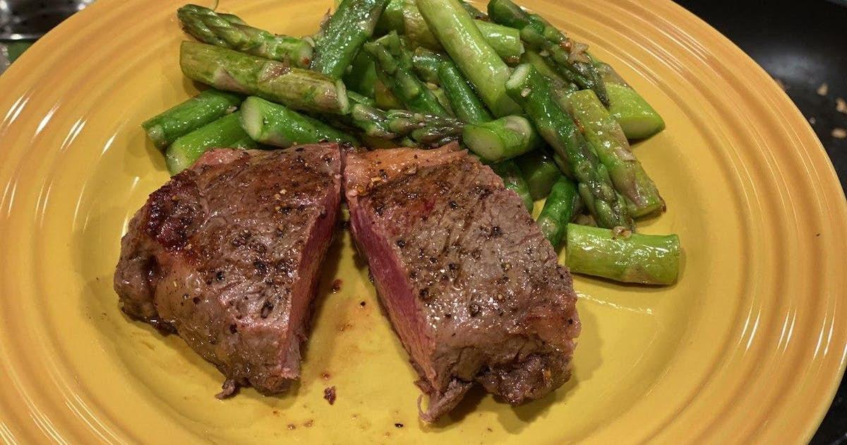 New York Strip Steak with Pan-Fried Garlic Asparagus