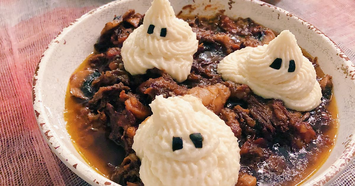 Short Rib Stew with Mashed Potato Ghosts
