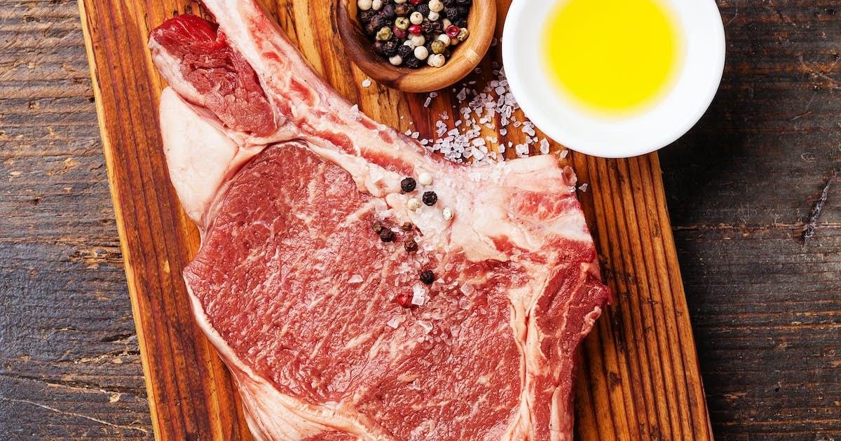 "Grilled Bone-In Ribeye Steak with Chili Garlic ""Kalbi"" Shrimp Paste"