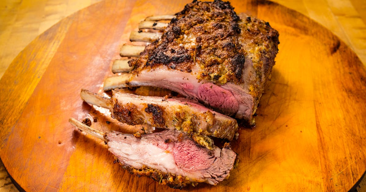 Mustard-Herbed Rubbed Frenched Rack of Lamb