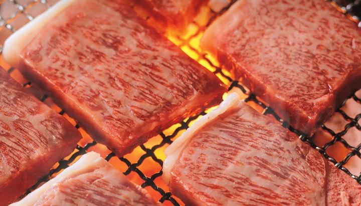Iwate Wagyu grilling on binchoutan charcoal