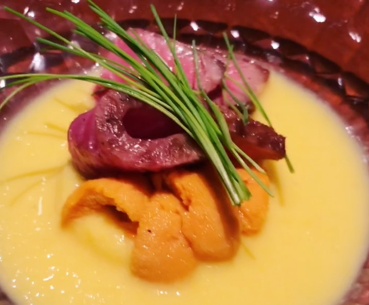 Wadatsumi's off-menu Wagyu + Uni custard