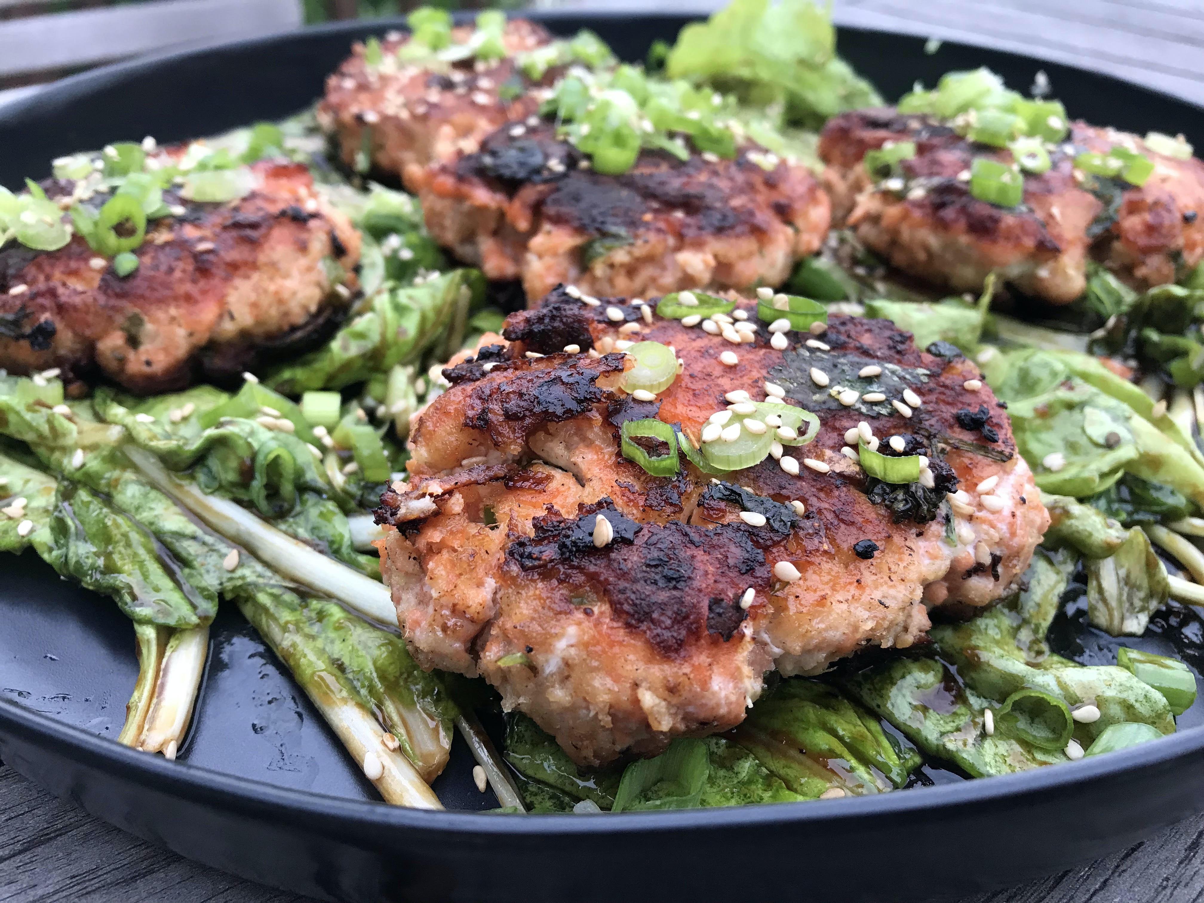 Salmon Cakes & Asian Greens