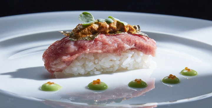 Kobe Beef with fresh uni (sea urchin)