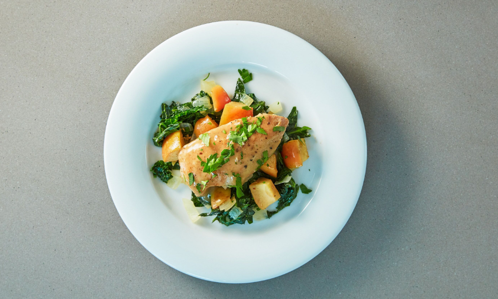 Honey Dijon Chicken with Apples and Greens