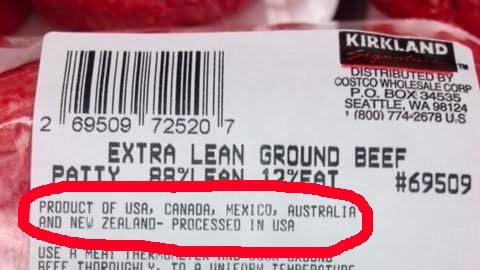 costco beef with country of origin label required