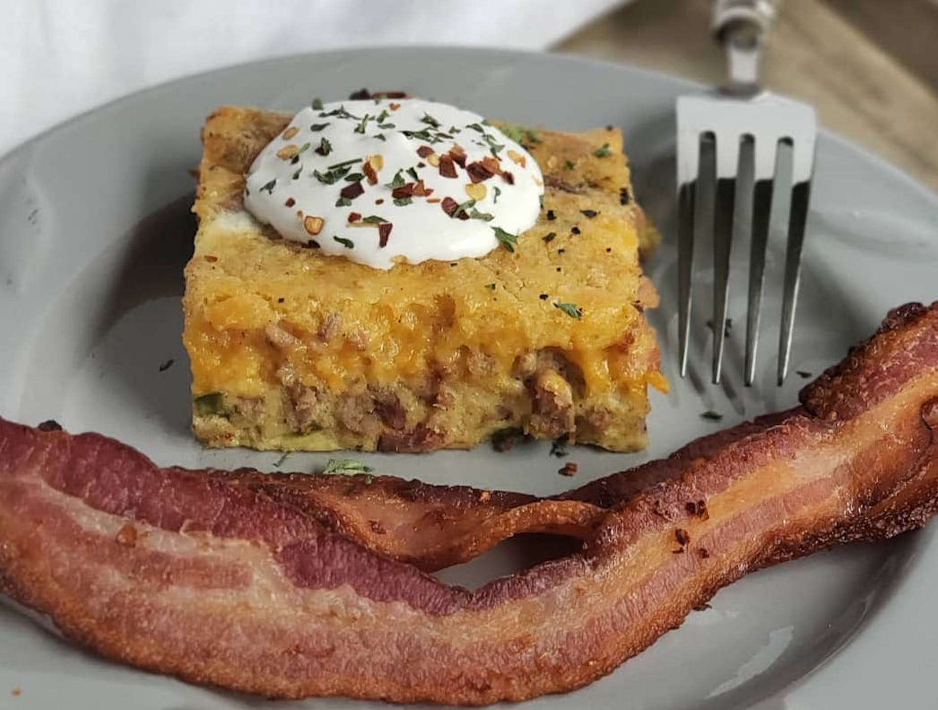 Sausage, Bacon, Egg & Cheese Smoked Breakfast Casserole