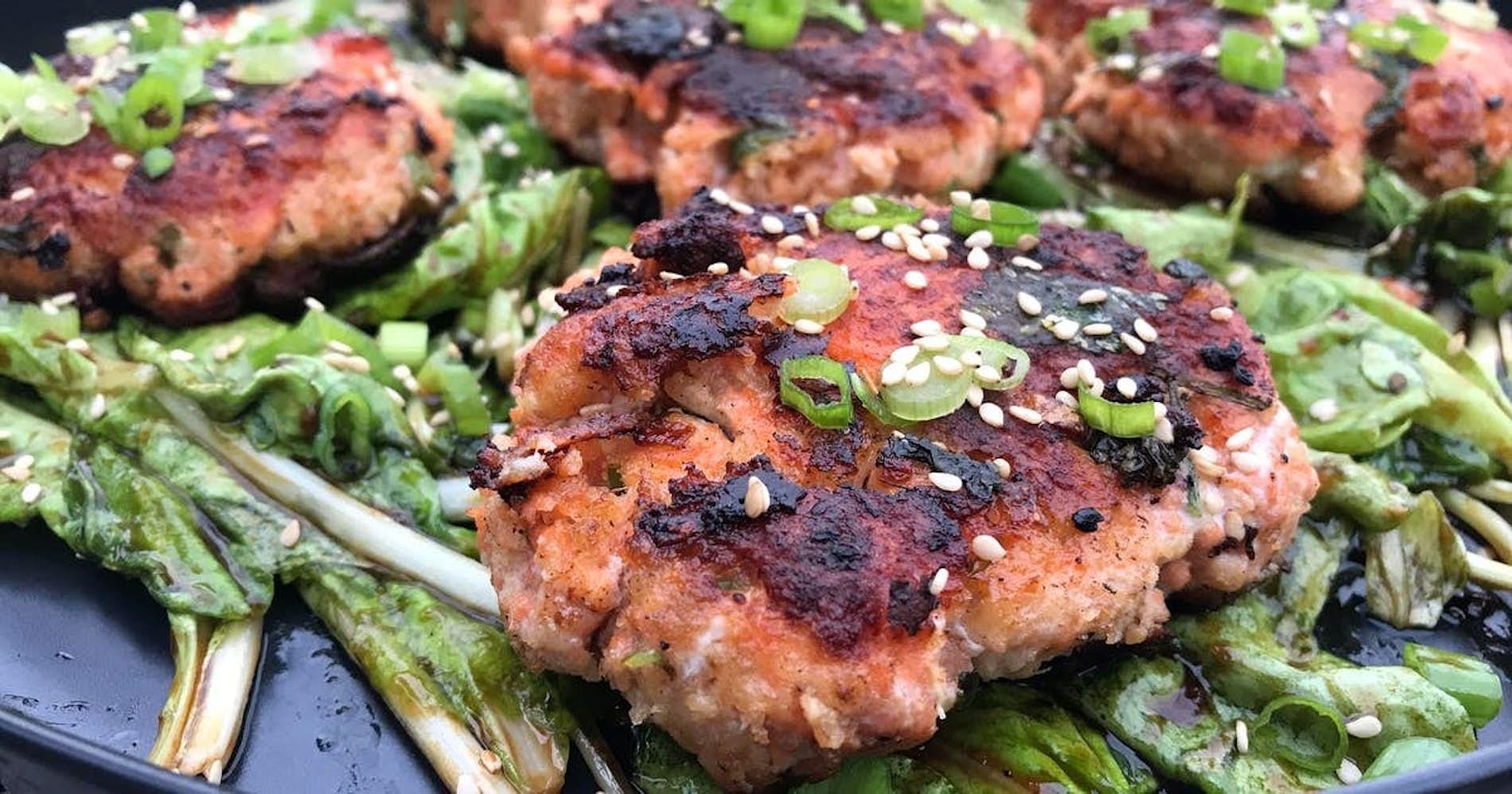 Salmon Cakes & Asian Greens