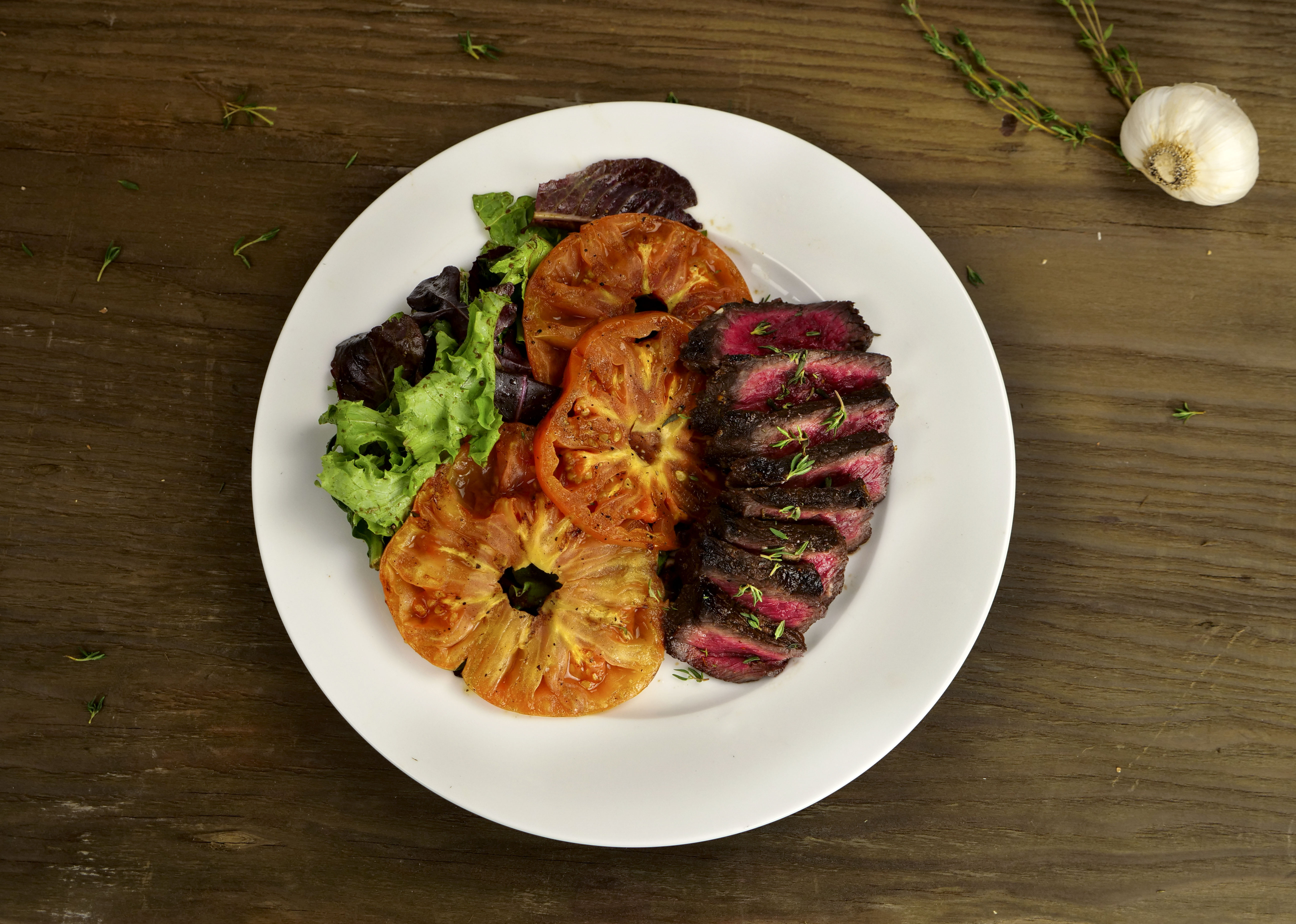 Zesty Denver Steak with Grilled Tomatoes